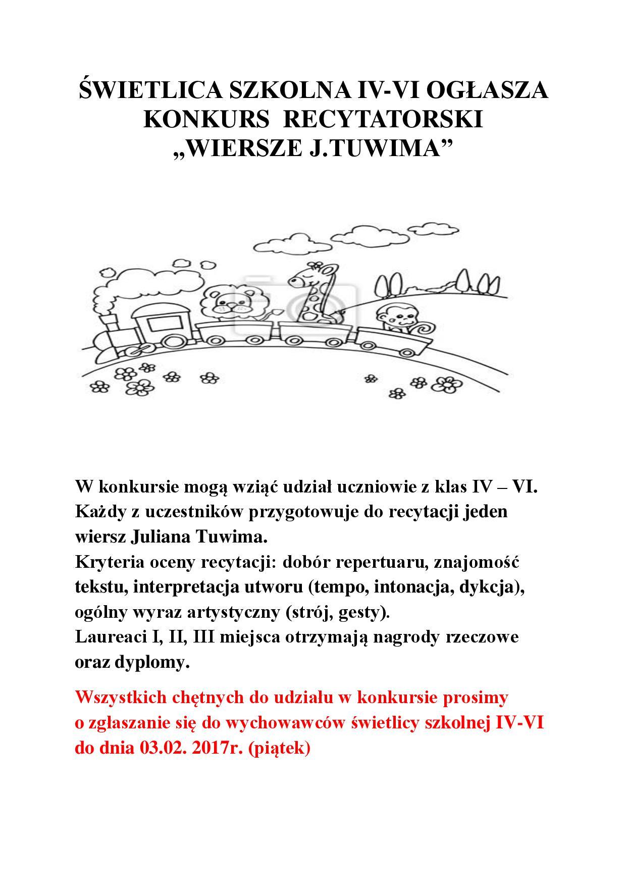 Konkurs Recytatorski Wiersze Jtuwima Szkoła Podstawowa