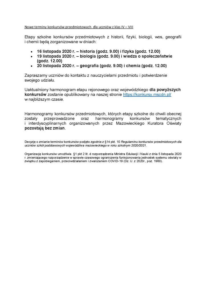 Nowe terminy konkursów przedmiotowych  dla uczniów z klas IV-page-001